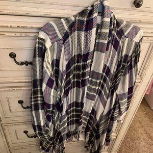 Soft Plaid open cardigan, 2X